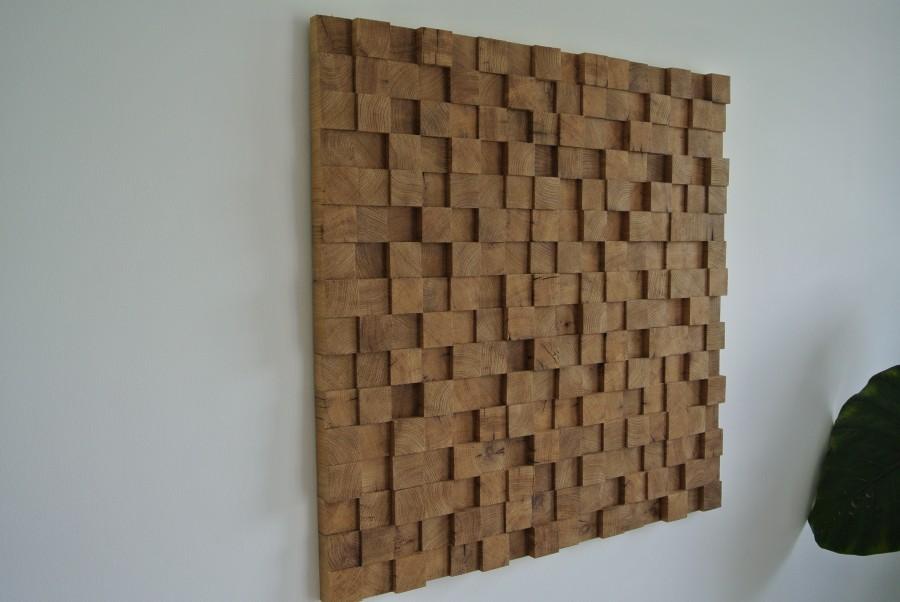 Wanddecoratie van oud eiken blokjes met een mooie dieptewerking